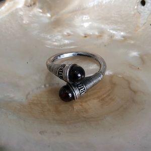 Vintage sterling and garnet ring